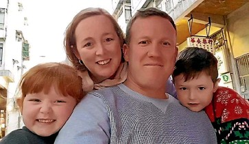 ??  ?? Stephanie and Paul Dwyer, with children Katie and Cooper, left Hong Kong last year due to the political situation. ''You can't speak freely . . . in Hong Kong any more.''