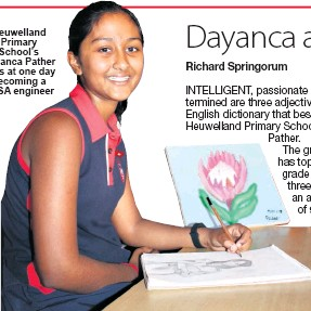 ??  ?? Heuwelland Primary School's Dayanca Pather aims at one day becoming a NASA engineer