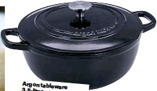 ??  ?? Ar­gon table­ware 3.5-litre cast-iron Dutch oven casse­role, £37.99, rinkit.com Great for bak­ing bread as it traps cre­at­ing steam, the glossy crust that ar­ti­san achieve bak­ers us­ing steam­in­jected ovens.