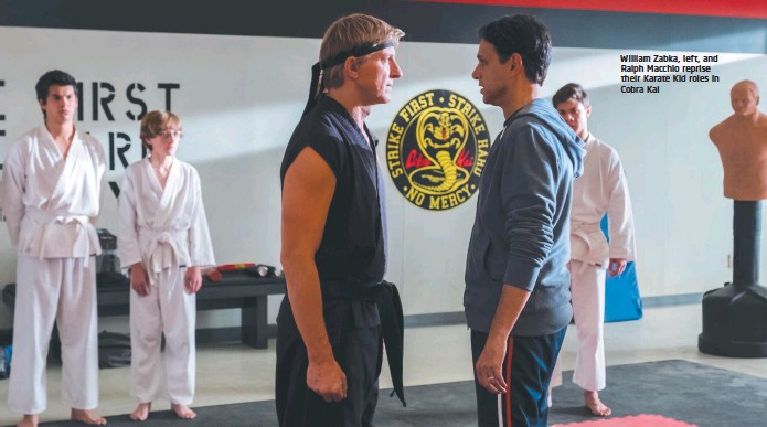 ??  ?? William Zabka, left, and Ralph Macchio reprise their Karate Kid roles in Cobra Kai