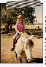 ??  ?? ABOVE Jes­sica, rid­ing pony Stumpy at age eight, grew up on the fam­ily farm at Bog­gabri, NSW, with her sis­ter Re­becca, brother Hadley and six cousins.