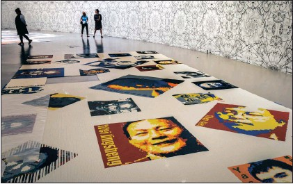 ?? Pictures: WASHINGTON POST ?? PLAYFUL: In Trace, Lego bricks create pixellated images of 157 men and 19 women from 30 countries, including Nelson Mandela, Martin Luther King jr, Rwandan journalist Agnes Uwimana Nkusi and Chinese dissident and winner of the Nobel Peace Prize Liu...