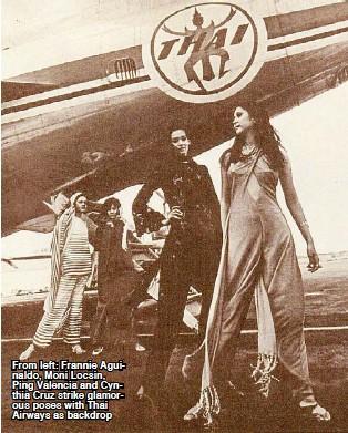 ??  ?? From left: Frannie Aguinaldo, Moni Locsin, Ping Valencia and Cynthia Cruz strike glamorous poses with Thai Airways as backdrop