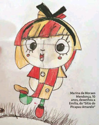 """?? Arquivo pessoal ?? Marina de Moraes Mendonça, 10 anos, desenhou a Emília, do """"Sítio do Picapau Amarelo"""""""