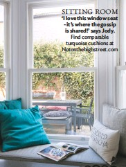 ??  ?? SITTING room 'I love this window seat - it's where the gossip is shared!' says Jody. Find comparable turquoise cushions at Notonthehighstreet.com
