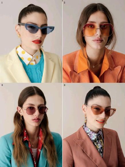 ??  ?? 1. Americana de Cortefiel; jersey de Benetton (39,95 €); camisa de CH Carolina Herrera (250 €); gafas de sol, de Miu Miu (235 €); y pendientes de Swarovski (129 €). 2. Americana de Etro (1.485 €); camisa de H&M; gafas de sol, de Fendi (390 €); y collar de Pandora (119 €). 3. Americana de Escada (849 €); camisa de Miu Miu;top de Liu·Jo; gafas de sol, de Polaroid (55 €); colgante Rose Seducción Vintage, de Pandora (119 €); y pendientes de Aurélie Bidermann (400 €). 4. Americana de Massimo Dutti (79,95 €); camisa de Valentino; gafas de sol de Jimmy Choo; y pendientes de Tous (2.575 €).