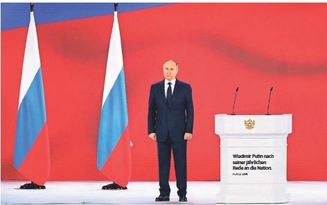 ?? FOTO: DPA ?? Wladimir Putin nach seiner jährlichen Rede an die Nation.