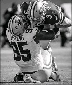 ?? Smiley N. Pool/Staff Photographer ?? Cowboys defensive tackle David Irving brings down San Francisco 49ers quarterback C.J. Beathard. It was one of seven sacks Irving had in eight games played last season.