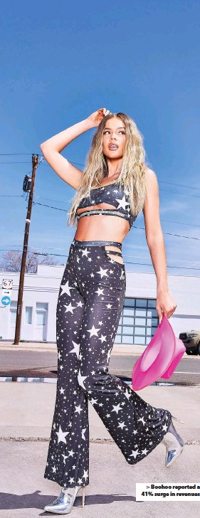 ??  ?? Boohoo reported a 41% surge in revenues