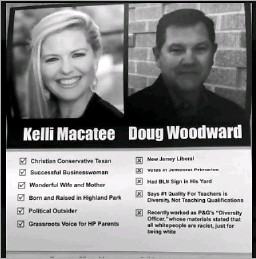 ??  ?? A flyer distributed to Highland Park residents faults a school board candidate for having a Black Lives Matter sign in his yard.