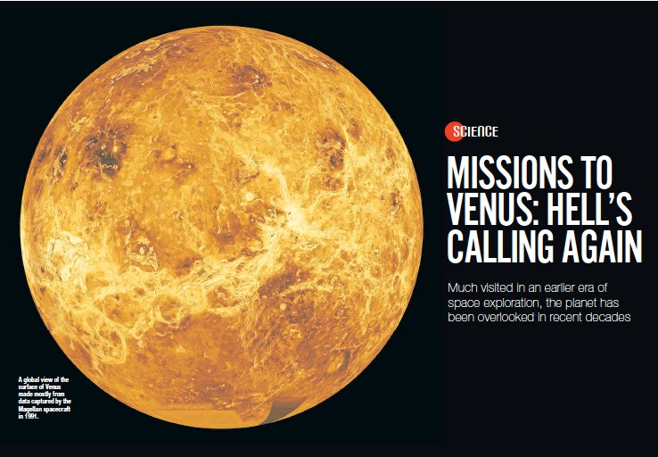 ?? PHOTO: NASA/JPL/THE NEW YORK TIMES ?? A global view of the sur­face of Venus made mostly from data cap­tured by the Mag­el­lan space­craft in 1991.