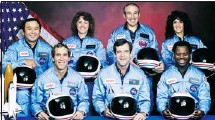 ?? Getty Images, courtesy NASA ?? The crew of the Challenger 1985 mission, from left: (back row) Ellison Onizuka, Christa McAuliffe, Gregory Jarvis, Judith Resnik, (front row) Michael Smith, Francis Scobee and Ronald McNair.