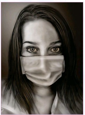 """?? © 2020 Lucy McCroskey. ?? Above: """"COVID-19 Portrait"""" A self portrait completed during the Covid-19 Pandemic. This illustration features intense eye contact with the viewer."""