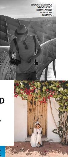??  ?? LUKE ON THE METROPOL PARASOL, SEVILLE. BELOW: NATASHA IN ESTEPONA OLD TOWN