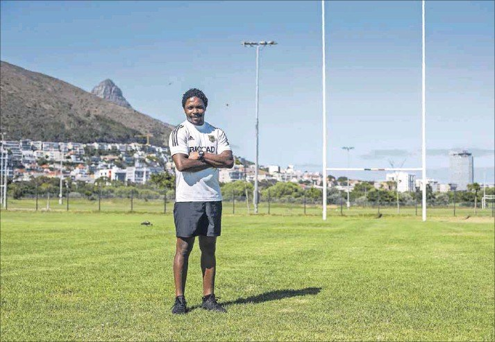 ?? Photo: David Harrison ?? Home and away: Vuyo Zangqa, coach for the Russian club team Narvskaya Zastava Rugby, at a team training session at Hamilton Rugby Club in Cape Town.