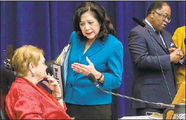 """?? Irfan Khan Los Angeles Times ?? L.A. COUNTY SUPERVISORS Sheila Kuehl, left, Hilda Solis and Mark Ridley Thomas appeared at a Monday press conference in support of the diversion program for homeless inmates. """"It's a priority,"""" Kuehl said."""