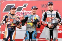 ??  ?? Wet race turned out to be a blessing for Jack Miller (centre) and Scott Redding (right)