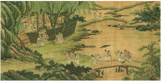 ?? PROVIDED TO CHINA DAILY ?? Above: A painting at the exhibition shows a Ming-era (1368-1644) wedding where the bride is being carried by an ox to the groom's house.