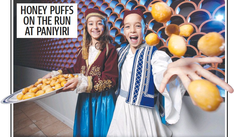 ??  ?? Karlia Xanthopoulos, 9, and Timmy Xanthopoulos, 9, are getting ready at The Greek Club in inner Brisbane for the Paniyiri Greek Festival on May 22-23. Picture: Josh Woning