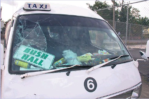 THE SHATTERED WINDSCREEN of the ZR van that struck and killed Neil Rose.