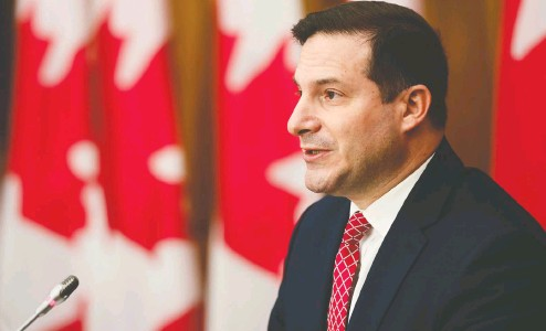 ?? SEAN KILPATRICK / THE CANADIAN PRESS ?? Minister of Immigration, Refugees and Citizenship Marco Mendicino said late last week that Canada intended to accept as permanent residents 45 embassy staffers, 40 interpreters and their families, for a total of 235 people, but offered no concrete time frame.