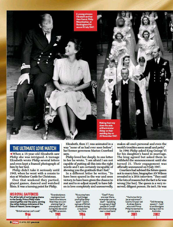 ??  ?? A young princess Elizabeth and her then fiancé, Philip Mountbatten, at Buckingham Palace on 10 July 1947. Making their way down the aisle at Westminster Abbey on their wedding day on 20 November 1947.