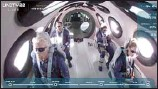 ??  ?? Richard Branson and his crew members aboard his winged rocket ship on July 11.