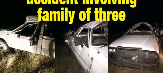 ??  ?? TRAGIC END: This Toyota Hilux hit a pothole and overturned, killing one woman while injuring two other occupants, the deceased's sister and their nephew