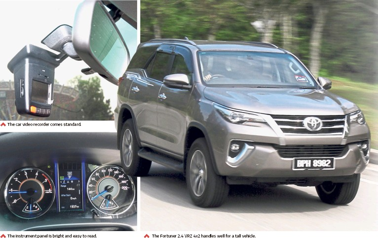 ??  ?? The car video recorder comes standard. The instrument panel is bright and easy to read. The Fortuner 2.4 VRZ 4x2 handles well for a tall vehicle.