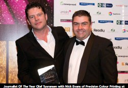 ??  ?? Journalist Of The Year Olaf Tyaransen with Nick Evans of Precision Colour Printing at The Irish Magazine Awards in Smock Alley
