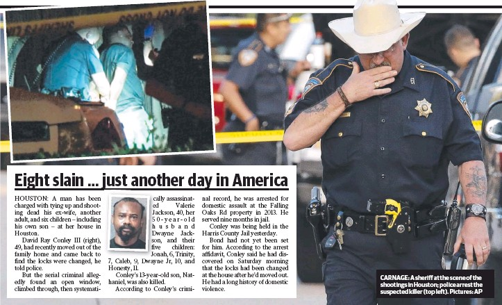 ??  ?? CARNAGE: A sheriff at the scene of the shootings in Houston; police arrest the suspected killer (top left). Pictures: AP