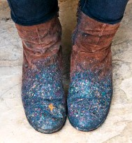 ??  ?? Jemma's working boots are a testament to her colourful marbling technique.