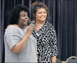 """?? PHOTO BY ANA GARCIA ?? Naomi Rainey-Pierson, left, president of the Long Beach Branch of the NAACP, introduces Ma N Pa Grocery co-owner Renee Henderson during an NAACP event, """"Inspiring, Amazing and Phenomenal Women,"""" in March of 2019. Rainey-Pierson says she has been a loyal customer of Ma N Pa in Belmont Heights for more than 35 years."""