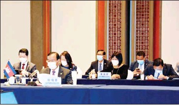 ?? FOREIGN MINISTRY ?? Minister of Foreign Affairs and International Cooperation Prak Sokhonn during the sixth Mekong-Lancang Cooperation Foreign Ministers' Meeting in the southwestern Chinese city of Chongqing.