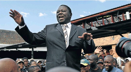 ?? Picture: AFP ?? Morgan Tsvangirai addresses an election campaign rally in Chinhoyi, Zimbabwe, in 2013. Tsvangirai, who died this week at the age of 65, had an uncanny ability to move crowds and connect with people's grievances, honed while he was a trade union leader.
