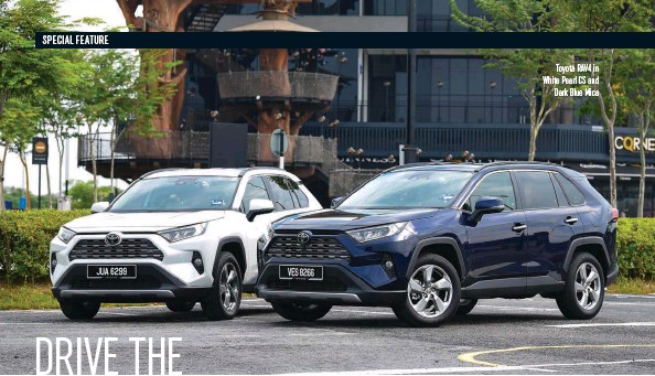 ??  ?? Toyota RAV4 in White Pearl CS and Dark Blue Mica
