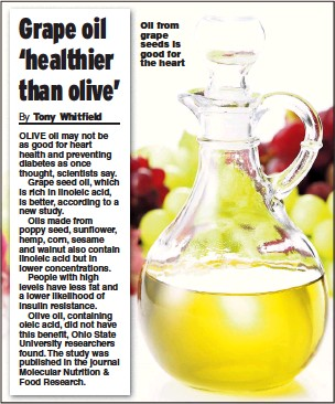 ??  ?? Oil from grape seeds is good for the heart