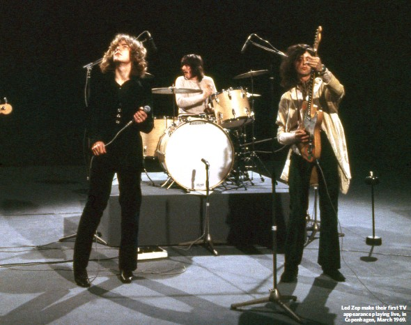 ??  ?? Led Zep make their first TV appearance playing live, in Copenhagen, March 1969.