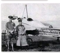 ??  ?? ■ Ernst Canter (left) with his Rumpler Taube, an Austrian-built two-seat monoplane, proudly wearing a newly minted silver disc on his left breast. The disc was the recently instituted Imperial German Pilot's Badge, the design of which fittingly featured the Taube.