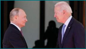 ?? Photograph: AP ?? President Joe Biden meets President Vladimir Putin in Geneva