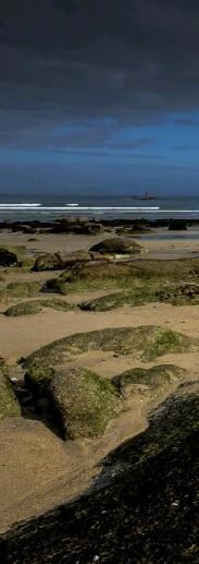 ??  ?? Baie du Kernic Die Bucht von Kernic liegt im Nordwesten der Bretagne(Finistère). Die Strände sind von Felsformationen unterbrochenund bieten eine abwechslungsreiche Farbpalette. Hier eine tiefe Weitwinkel-perspektive, die Linienscheinen sich zu ergänzen. (Brennweite 16 mm, ISO 200,Blende 11, 1/320 s)