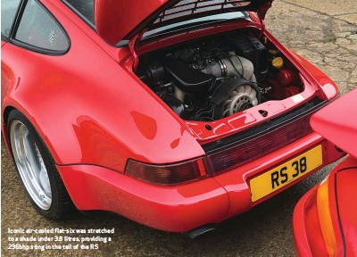 ??  ?? Iconic air-cooled flat-six was stretched to a shade under 3.8 litres, providing a 296bhp sting in the tail of the RS
