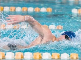 ?? | JIM KARCZEWSKI/FOR THE POST-TRIBUNE ?? Chesterton's Blake Pieroni set a meet record in the 100, 200 free and was part of the record-breaking 200 medley and 200 free teams.