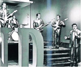 ??  ?? Golden memories Tommy Truesdale and The Sundowners in STV pop show One Night Stand, on March 12, 1964. Tommy recalls that Lulu and Dave Berry were among the guests
