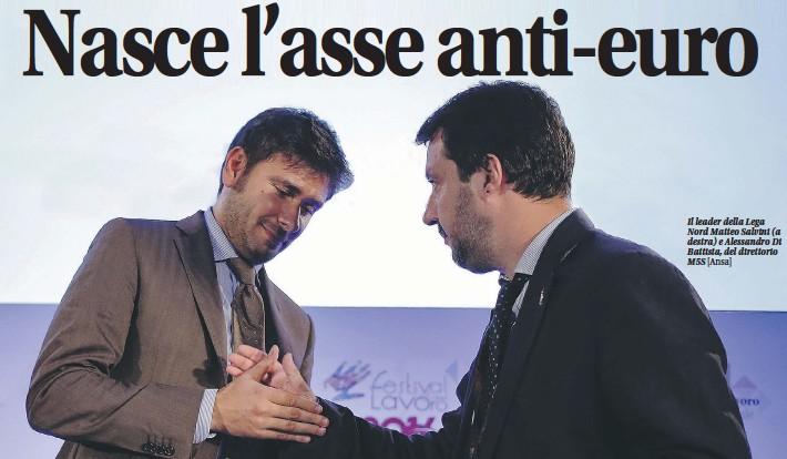 ?? [Ansa] ?? Il leader della Lega Nord M atteo Salvini (a destra) e Alessandro Di Battista, del direttorio M5S