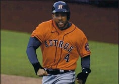 ?? GREGORY BULL — THE ASSOCIATED PRESS ?? The Blue Jays are going to give free agent George Springer the largest contract in team history. Springer is a 3-time All-Star and World Series MVP.