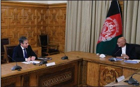 """?? (AP/Afghan Presidential Palace) ?? """"The partnership is changing, but the partnership itself is enduring,"""" U.S. Secretary of State Antony Blinken (left) told Afghan President Ashraf Ghani in a Kabul meeting Thursday seeking to assure Ghani of the U.S. commitment to Afghanistan."""