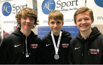 ??  ?? (left to right) Dan Davies, Daniel Clarke, Tom Belsham from the Aquinas table tennis squad