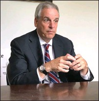 ?? Ernest A. Brown photo ?? Former U.S. Attorney Peter F. Neronha, of Jamestown, discusses his vision for the office of Attorney General as he begins his campaign for the Rhode Island Attorney General's seat in the November election during a sit-down with editors at the Woonsocket Call on Thursday.