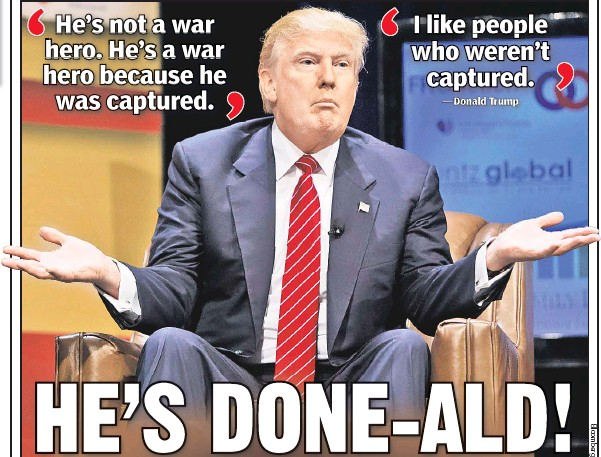??  ?? TOO FAR: Donald Trump speaks Saturday at a forum, where he criticized Sen. John McCain for getting captured as a POW (below) in Vietnam.